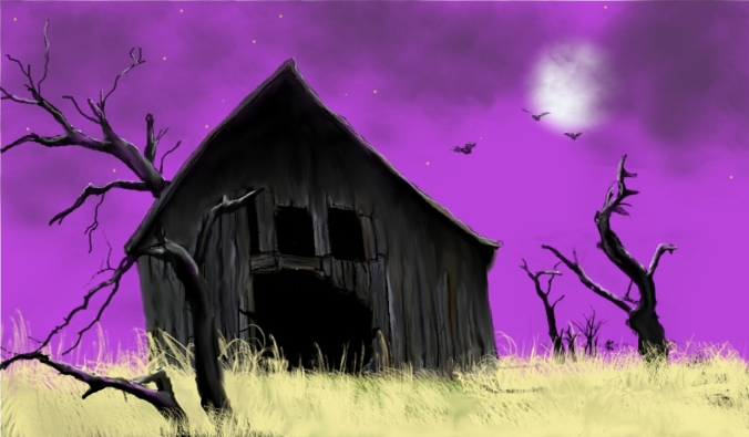 Picture borrowed from: http://3.bp.blogspot.com/-MG4kpGvM4VM/UE6yn-yzCAI/AAAAAAAAAEw/KHAfV0kknqI/s1600/haunted-barn.jpg Copyright remains that of the original owner.