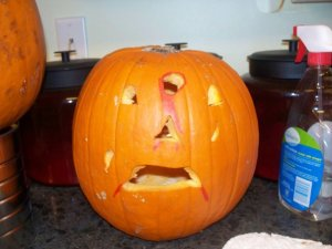 My daughter's pumpkin from Halloween 2009.  Notice the bullet hole...