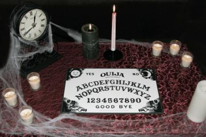 Picture borrowed from: http://cf.ltkcdn.net/paranormal/images/std/154530-425x283-Ouija-board-on-purple-table-top.jpg Copyright remains that of the original owner.