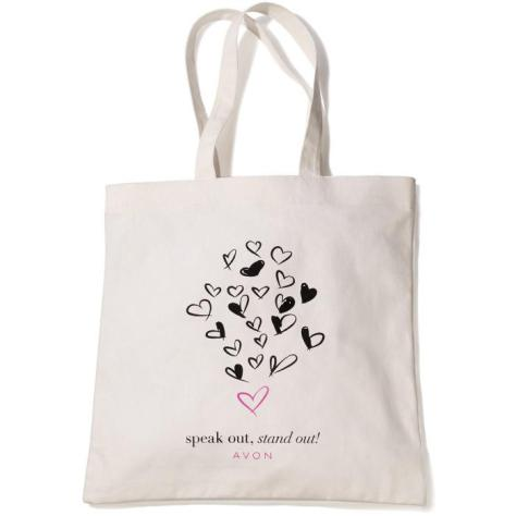 """DESCRIPTION Limited Edition  International Women's Day Tote! 100% cotton. 15 1/2"""" H x 15"""" W; handle drop, 10"""". $1.50 will be donated to the Avon Foundation to fund programs to end violence against women.  At Avon, we are committed to empowering women. The Avon Speak Out Against Domestic Violence program has committed nearly $50 million, in over 50 countries, to organizations and programs focused on awareness, education, direct services and prevention programs to help end the cycle of domestic and gender violence."""