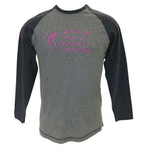DESCRIPTION This sporty shirt has a great look with contrasting sleeves, Avon Walk on the chest, and IN IT TO END IT on the sleeve. Perfect for all the sporty guys (and gals too!) in your life. Crewneck, raglan sleeve. 100% ringspun cotton. Color: Heathered Nickel Best of all, for every Avon Walk item purchased at the Avon Walk Store online, 100% of the net proceeds are donated directly to Avon Breast Cancer Crusade to support programs that help people get the breast cancer care they need and to support life saving research. Direct Delivery Only