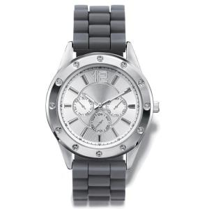 """DESCRIPTION Men's rubber strap watch with round silvertone case, rhinestone embellished bezel, and three faux chronographs on the dial. · Band: 10"""" L x 7/8"""" W with foldover clasp · Face: 1 3/8"""" face only; 1 3/4"""" including casing · Battery: Replaceable SR626SW · Movement: Quartz-PC21J · Imported"""