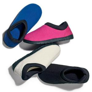 Memory Foam Unisex Slipper Regular Price: $14.99 Sale Price:  $9.99 DESCRIPTION Slip into something comfy. Plush padded memory-foam footbed cradles your feet for added comfort. Cozy fleece upper with stretch jersey collar. Treaded sole.