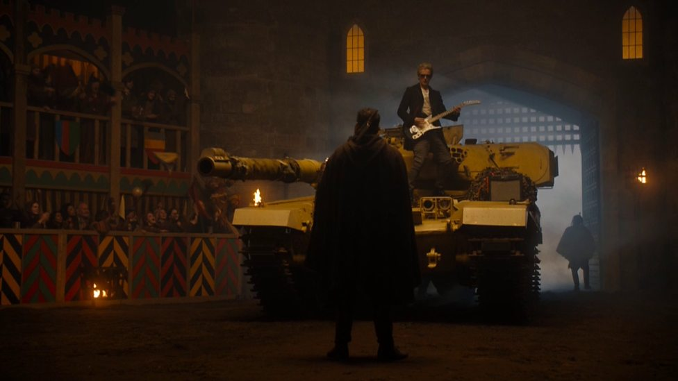 How cool is The Doctor playing guitar on a tank? Image borrowed from: http://www.bbc.co.uk/programmes/p032v4mz/p032v3ls