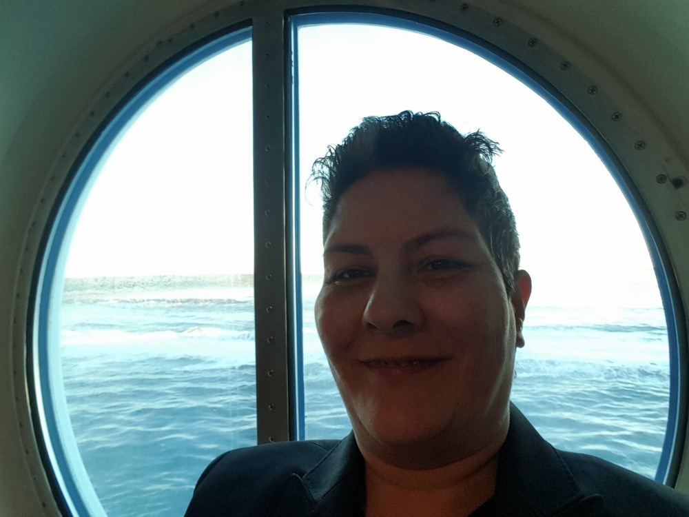 12-10-2017 Angela with view from our stateroom
